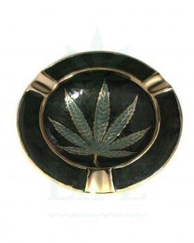 Aschenbecher Hanfblatt Aschenbecher 'Leaf' metall im Antik-look