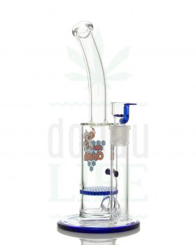 aus Glas BLACK LEAF Bubbler 'Blue Bling' mit 40-Schlitz Honeycomb | 30 cm