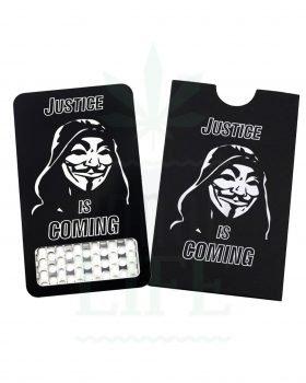 Edelstahl Grinder V SYNDICATE Grinder Card 'Justice is coming' | Kreditkarten Format