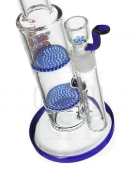 aus Glas BLACK LEAF Bubbler 'Double Honeycomb' blau | 32 cm
