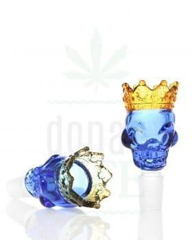18,8 mm GRACE GLASS Siebkopf 'Skull King' blau | 18,8 mm