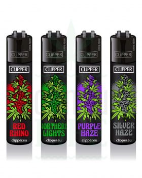 Headshop CLIPPER Bong Feuerzeug 'Weed Strains'