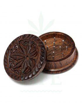 2-teilig Holz-Grinder 'Hanfblatt' aus Rosenholz 2-teilig | Ø 40 mm