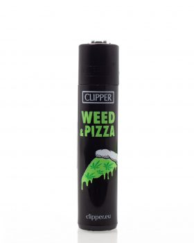 Headshop CLIPPER Bong Feuerzeug 'Weed Statements' | Weed & Pizza