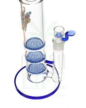 aus Glas BLACK LEAF Bubbler 'Blue Bling' mit 3x Honeycomb | 39 cm