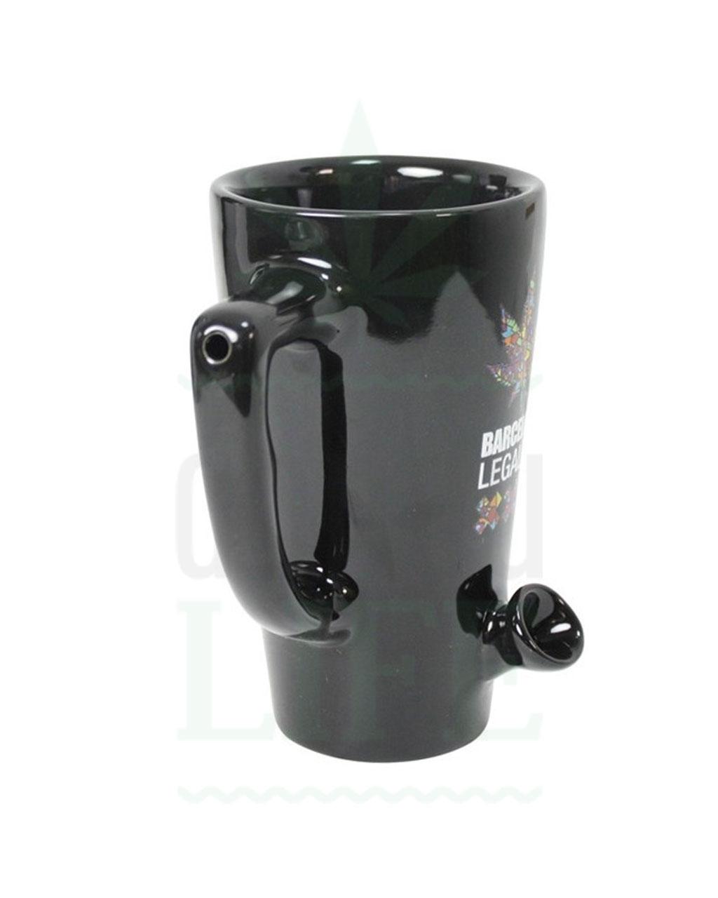 Geschenkideen Kaffeetasse Pfeife mit Kickloch 'Barcelona Edition' | 15 cm
