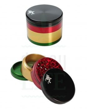 4-teilig BLACK LEAF Aluminium Grinder 'Rasta Crusher' | Ø 62 mm