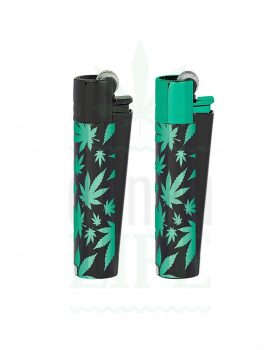 Headshop CLIPPER Metall Feuerzeug 'Green Leafs'