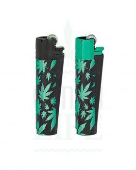 Anzünder CLIPPER Metall Feuerzeug 'Green Leafs'