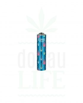 Headshop CLIPPER Micro Feuerzeug mit Metall Cover 'Color Leafs'