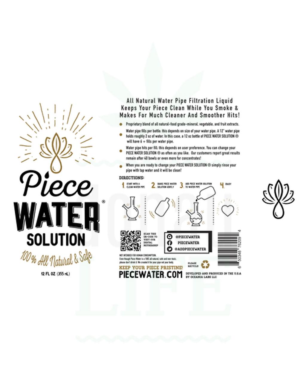 Beliebte Marken PIECE WATER Bong Wasser   355 ml