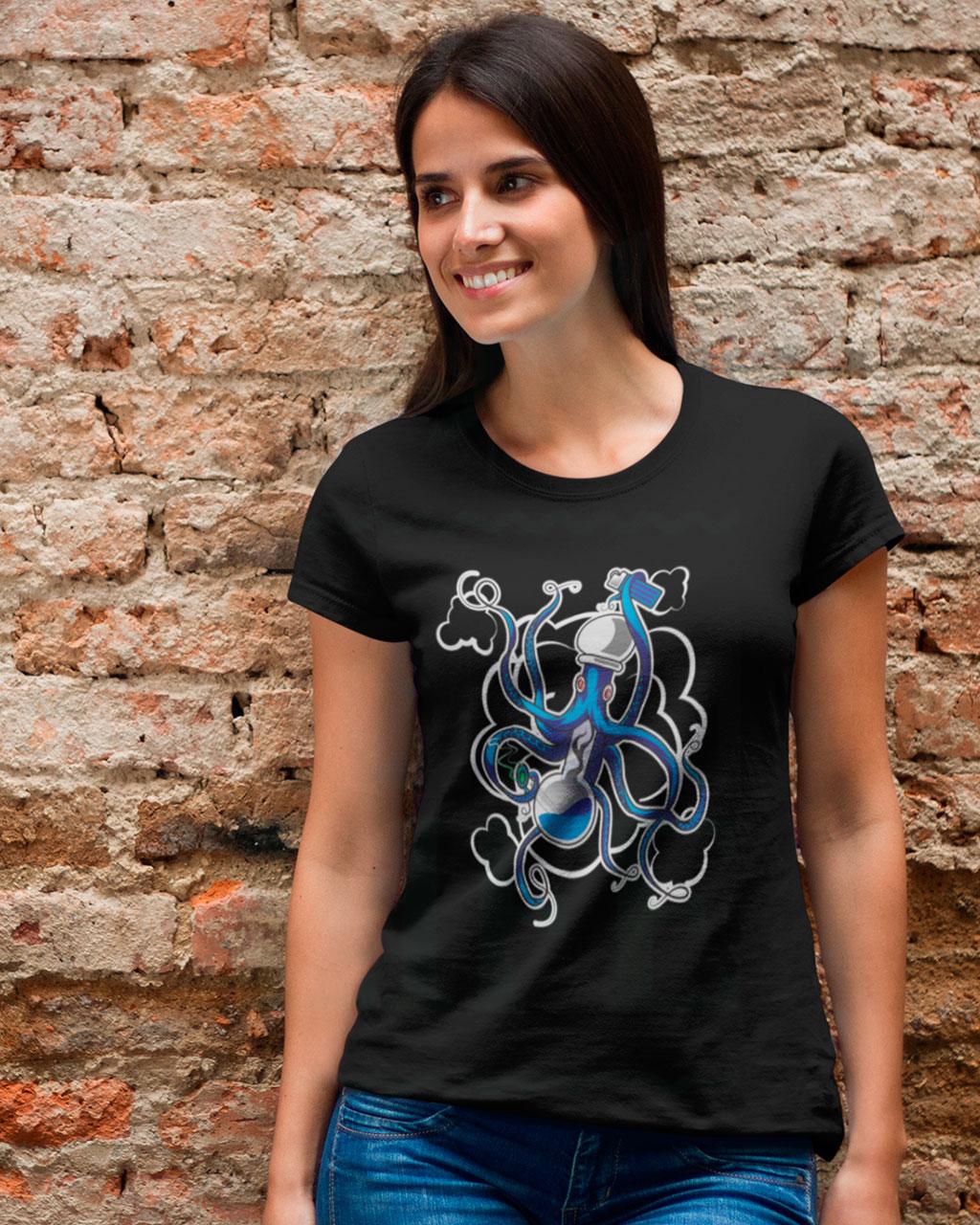 Fashion DONAULIFE T-Shirt 'Ott-o-pus' | schwarz